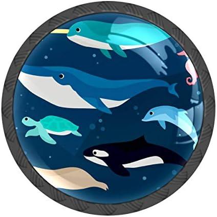 取っ手 引き出しハンドル 海洋生物 クジラ 亀 把手 家具ハード 食器棚ワード ワードローブ 耐久性 飾り 4個セット 収納ケース付き
