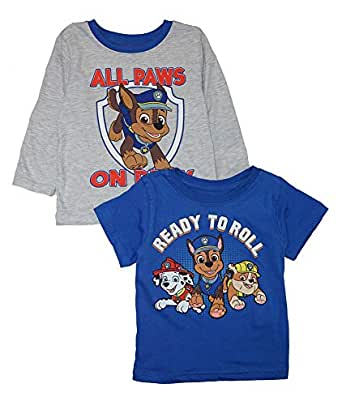 Nickelodeon Little Boys' Paw Patrol Two-Pack Screen-Print Tops - Blue - 2T