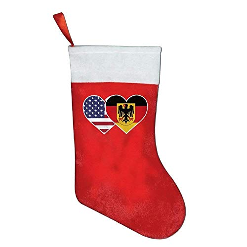 coconice Germany USA Flag Twin Heart Felt Christmas Stocking Party Accessory by coconice
