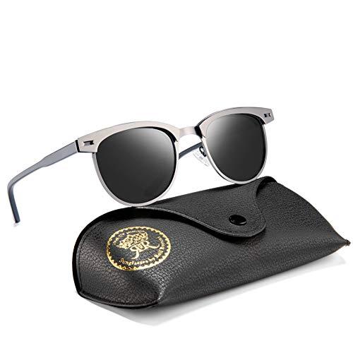 Semi Rimless Polarized Sunglasses for Mens Classic Vintage Metal Women Retro Sun Glasses with Case(Gun Black/Grey) ()