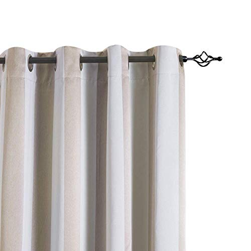 jinchan Gray Tan Curtains 84 Inch Drapes for Living Room Bedroom Grommet Top Room Darkening Striped Curtains Thermal Insulated Curtains Panel 84L Grey & Tan 2 Panels