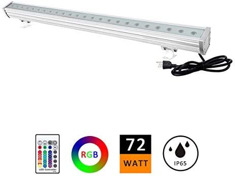 ATCD 72W RGBW LED Wall Washer Light, Color Changing, Linear Strip Light with RF Remote Controller, 120V, IP65 Waterproof, 3.2ft 40inches Length, LED RGB Light Birthday Party, Carnival