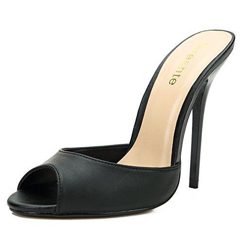 Peep Toe Slide - fereshte Women's Men's Crossdressing Peep-Toe Backless Slide Heeled Sandals PU Black EU42