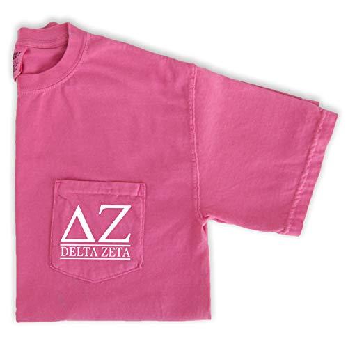 Delta Zeta Block Letters Shirt | Sorority Comfort Colors Pocket Tee