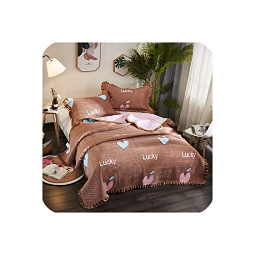 (3Pieces Bedspread Winter Quilted Bedspread Ruffles Pillowcase Fleece Fabric Quilted Bedskirt Flamingo Bed Cover,8,220X240Cm)