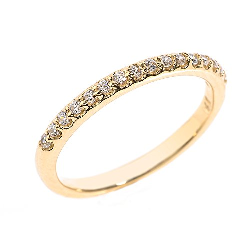 Solid 14k Yellow Gold CZ Stack