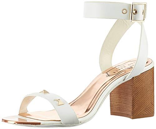 Ted Baker Women's BIAH Heeled Sandal, White Leather, 8 M US
