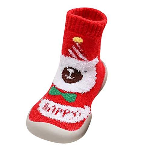 Kids Boy Girl Cartoon Slippers Soft Christmas Plush Indoor Shoes Boots Socks ()