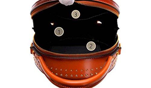 Femelle Optionnel Sac en Rétro Black Bandoulière Multicolore Petit Darkgreen DDHZTA Main Cuir Rond Sac À Casual Laqué Rivet Cuir Cross Corps BqnzUxEg