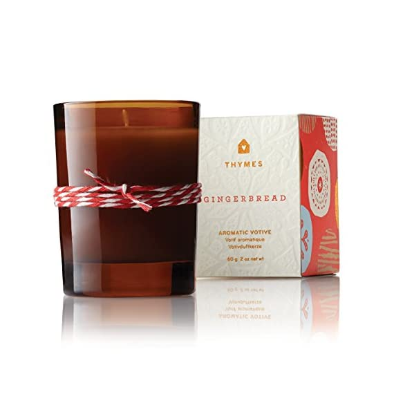 Thymes - Fragrant Gingerbread Votive Candle with 15-Hour Burn Time - 2 Ounces - GINGERBREAD FRAGRANCE - Gingerbread candles will be your new delectable holiday tradition, with a mix of spicy cardamom, crystallized ginger, golden amber, and fresh-ground cinnamon. HIGH-QUALITY WAX - Thymes uses top quality food-grade paraffin wax and non-metal wicks to ensure a higher quality color, scent, and a burn lasting up to 15 hours. SET THE MOOD FOR MEMORIES - Warm and spicy notes sets the mood for those special moments that make up our life stories, creating a tradition to savor and to share. - living-room-decor, living-room, candles - 411IoFQW8pL. SS570  -