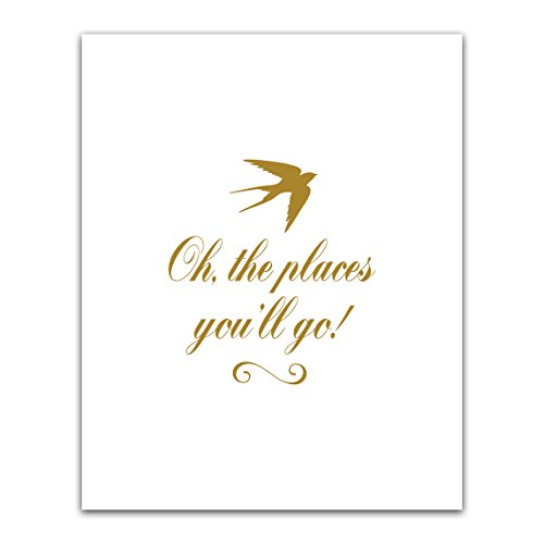 Oh the Places You'll Og, Golden Free Bird Nursery Wall Art,