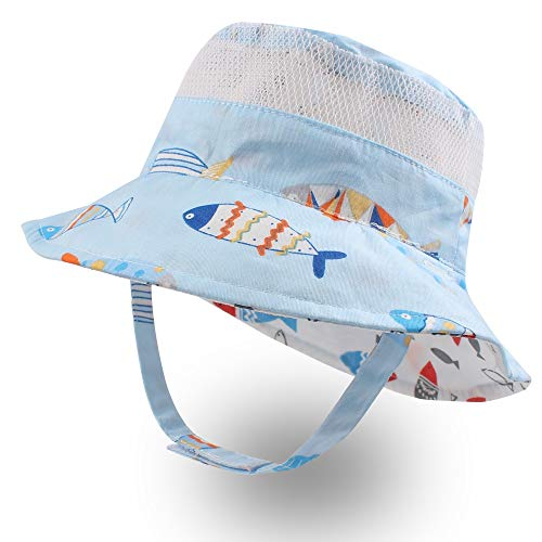 XIAOHAWANG Baby Boy Bucket Toddler Kids Sun Hat UPF 50+ Wide Brim Outdoor Beach Caps Play hat (Mesh Fish, XS (3-6 Months)) ()