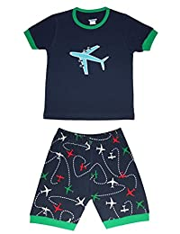 "Babylike""plane"" little boys shorts 2 Piece Pajama 100% Cotton(size:2-7 years)"