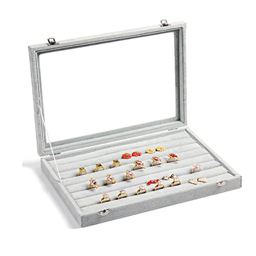 Valdler Velvet Clear Lid Jewelry Tray Showcase Display Storag