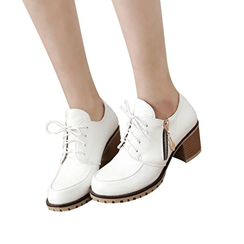 Womans up Vintage Boots White heel Casual Med MFairy Lace Boots Zipper Fashion Ankle dfSx1nwdFq