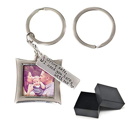callm Drive Safe Keychain I Need You Here with Me and Elegant Mini Photo Frame, for Someone You Love, Trucker Husband Or for Couples,Boyfriend, (Silive)