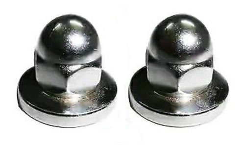 BRAND NEW ROYAL ENFIELD 2 CHROMED M8 DOMED NUTS T-COVER/FILTER #144392 #145233 - Filter Cover Nut