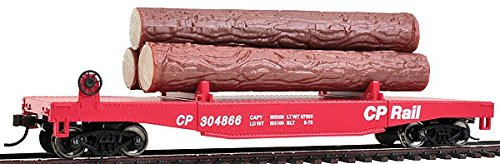 Walthers Trainline Log Dump Car with 3 Logs - Ready to Run Canadian Pacific #304866 (Red, CP Rail Lettering)