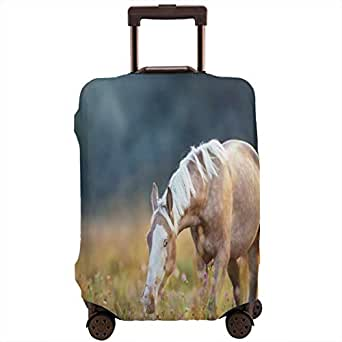 Travel Luggage Cover,Blurry Backdrop Photo Of Beautiful Palomino Horse Grazing At Sunrise Pasture Suitcase Protector