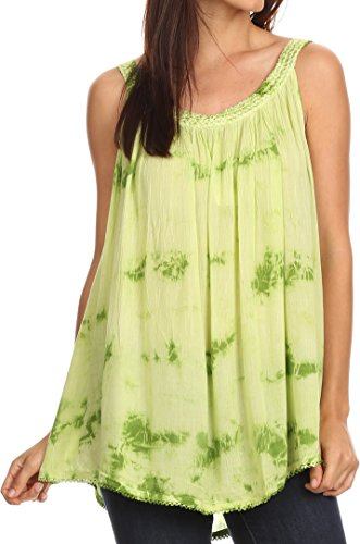 (Sakkas 11629 - Ashanti Embroidered Trim Picot Rayon Tie Dye Tank Top - Lime -)