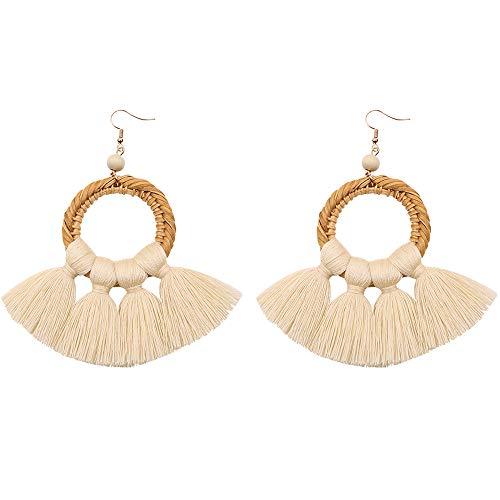 WAINIS Rattan Tassel Earrings for Women Bohemian Statement Handmade Woven Drop Dangle Earrings 9