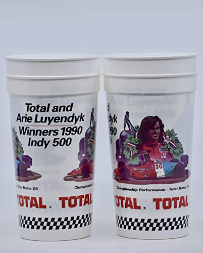 1991 - Total Motor Oil & Arie Luyendyk/Winners 1990 Indy 500 - Set of 4 Tumblers 32 Ounces - OOP - Collectible - -