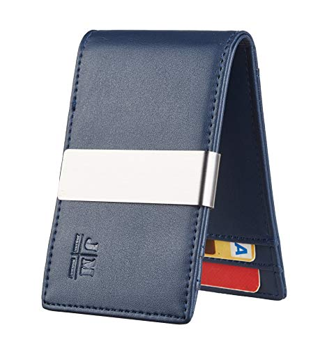 JM Minimalist Slim Leather Wallet Money Clip Credit Card Holder for Men RFID Blocking (napa blue)