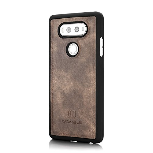 LG V20 Funda - Estuche de Billetera de Cuero de Vaca Genuina,Magnética Desmontable 2 en 1 Funda de Protección Delgada Combinada con Ranura para Tarjeta y Soporte Plegable para LG V20 - Rojo Gris