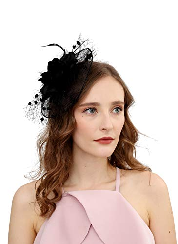 Fascinators Hats for Womens 50s Headwear with Veil Flower Cocktail Wedding Tea Party Church Derby Hat(1A-black)