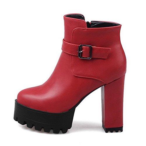 VogueZone009 Damen Hoher Absatz PU Leder Niedrig-Spitze Naht Reißverschluss Stiefel Rot