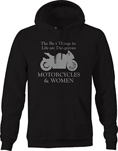 Bold Imprints Motorcycles & Women - Dangerous - Street Sport Bike Hooded Sweatshirt - Large Black