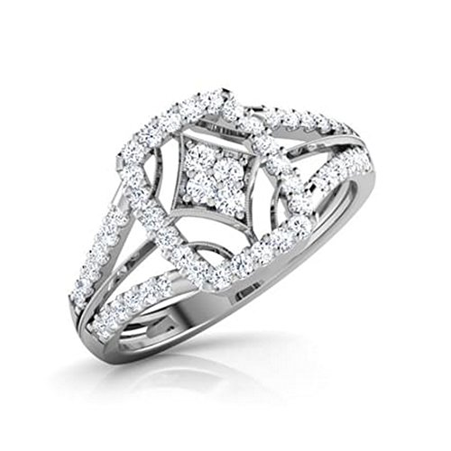 18K Or Blanc, 0,49carat Diamant Taille ronde (IJ   SI) en diamant