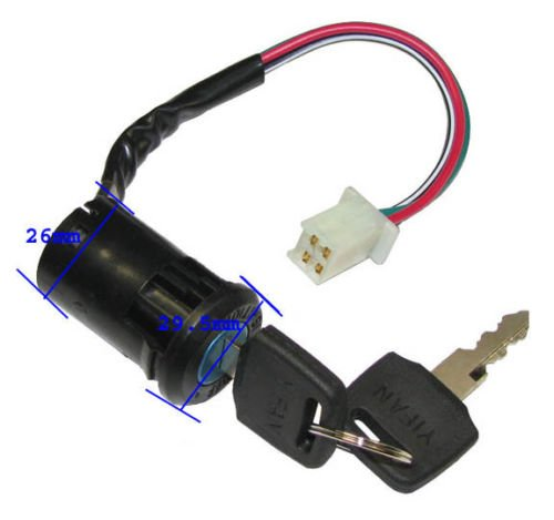 Coolsport Replacement ATV Key Ignition Switch 4 wire for 50cc 70cc 90cc 110cc 125cc 150cc CC TaoTao SUNL Coolster