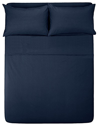 """Price comparison product image Lavish Linens Queen Size Attached Waterbed Sheet 6"""" Deep Stripe Navy Blue - 1800 Series Brushed Microfiber Wrinkle Free, Stain & Fade Resistant"""