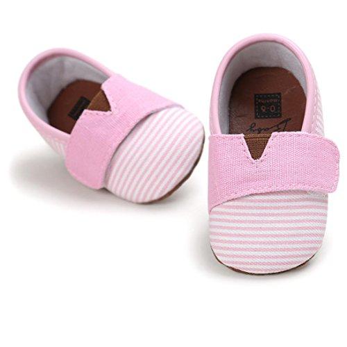 Xshuai Baby Mädchen-Jungen Anti-Rutsch-beiläufige Streifen-Segeltuch-Schuh-Turnschuh-rutschfeste Schuhe Rosa
