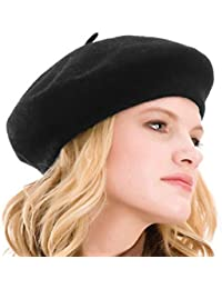 Womens Beret 100% Wool French Beret Solid Color Beanie Cap Hat aeb02b8eeaf2