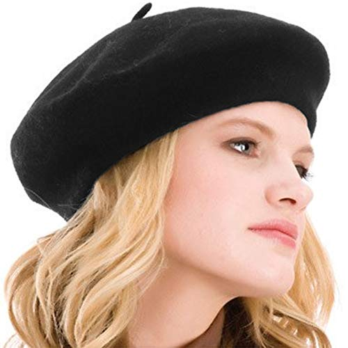 Kimming Womens Beret 100% Wool French Beret Solid Color Beanie Cap Hat Black ()