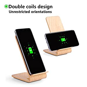 Wireless Charging Stand for iPhone X 8 Plus 8 Fast Charge Wireless Charger Convertible Station for Samsung Galaxy S9 Plus S9 Note 8 S8+ S8 S7 Edge S7 Note 5 Cellphones (Wood Grain / Burlywood)