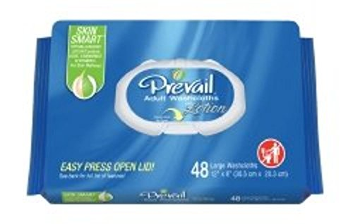 "Prevail Washcloth Wipe, 8""x12"", Soft Pack, Vitamin E/Aloe, 96 Pack, WW-720 - Case of 576"
