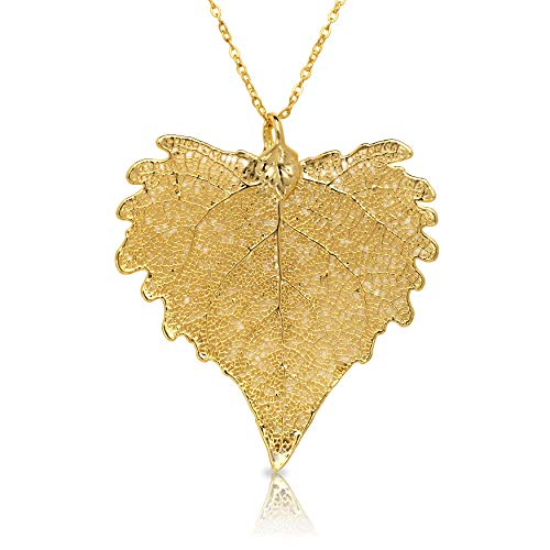 Allmygold Jewelers 24k Gold Dipped Cottonwood Leaf with Gold-Plated - 24k Gold Cottonwood Leaf