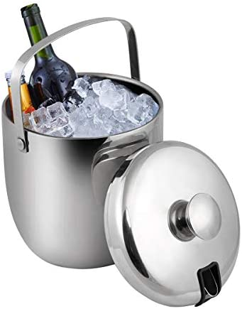 GWHOLE 3L Eiseimer Eiswürfelbehälter Edelstahl Doppelwändig mit deckel und Zange