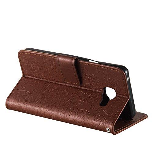 Ukayfe Flip funda de cuero PU para Samsung Galaxy A3 (2016) A310F, Leather Wallet Case Cover Skin Shell Carcasa Funda para Samsung Galaxy A3 (2016) A310F con Pintado Patrón Diseño, Cubierta de la caja Elefante-Marrón