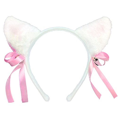 [GIANCOMICS Cute Cat Ears Headband Women Girl Sweet Hair Headwear Party Cosplay Costume White] (Girl Anime Costumes)
