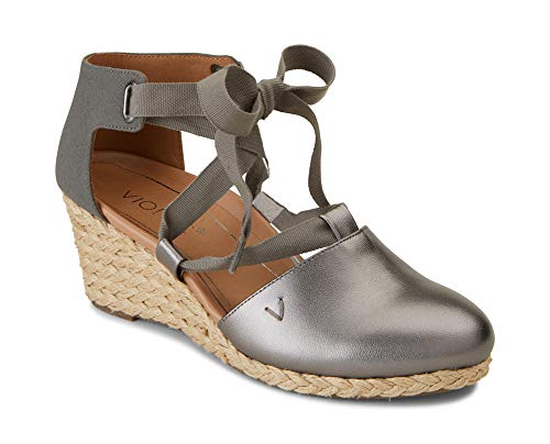 (Vionic Women's Aruba Kaitlyn Lace-up Wedge - Ladies Espadrille Wedges with Concealed Orthotic Arch Support Pewter 7.5 W US)