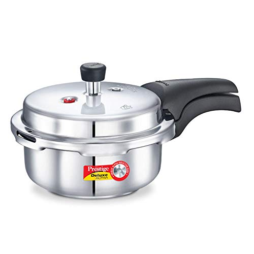 Prestige 2L Alpha Deluxe Induction Base Stainless Steel Pressure Cooker, 2.0-Liter (Best Electric Pressure Cooker For Indian Cooking)