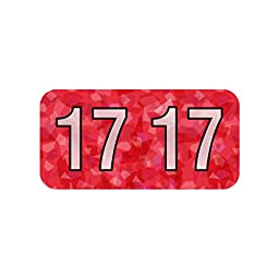 Year Label, 2017, Holographic, Red, Polylaminated (500/Roll)