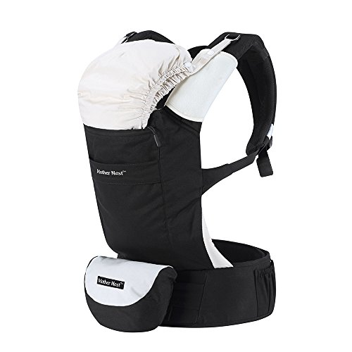 Mother Nest Ergonomic Baby Carrier 360 All Carrying Positions for Dad and Mom, Black & Beige