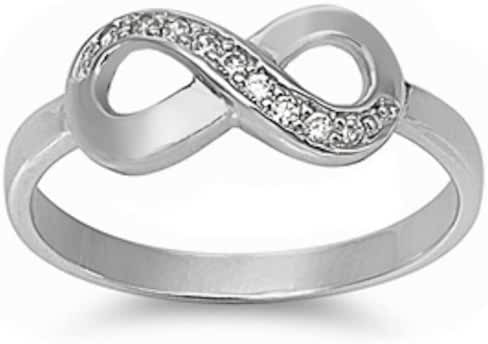 New Arrival Infinity Love Infinity Knot .925 Sterling Silver Ring Sizes 4-11