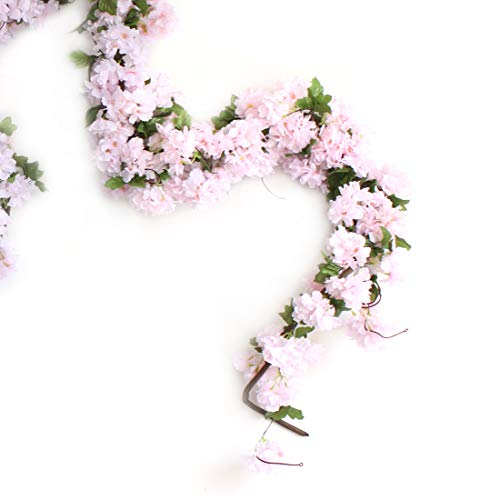 Only Angel Artificial Rose Flower Wholesale Flowers Vine Garland Hanging Christmas Decor Flowers Wedding Home Garden Outdoor Decoration-2 Pack Pink