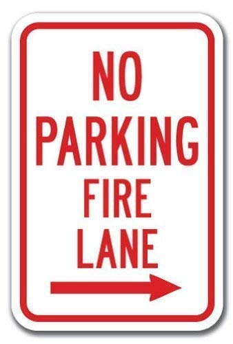 Shirllyn New Metal Sign Aluminum Sign No Parking Fire Lane Right Arrow Sign Heavy Gauge Tin Sign Wall Art 8x12 Inch